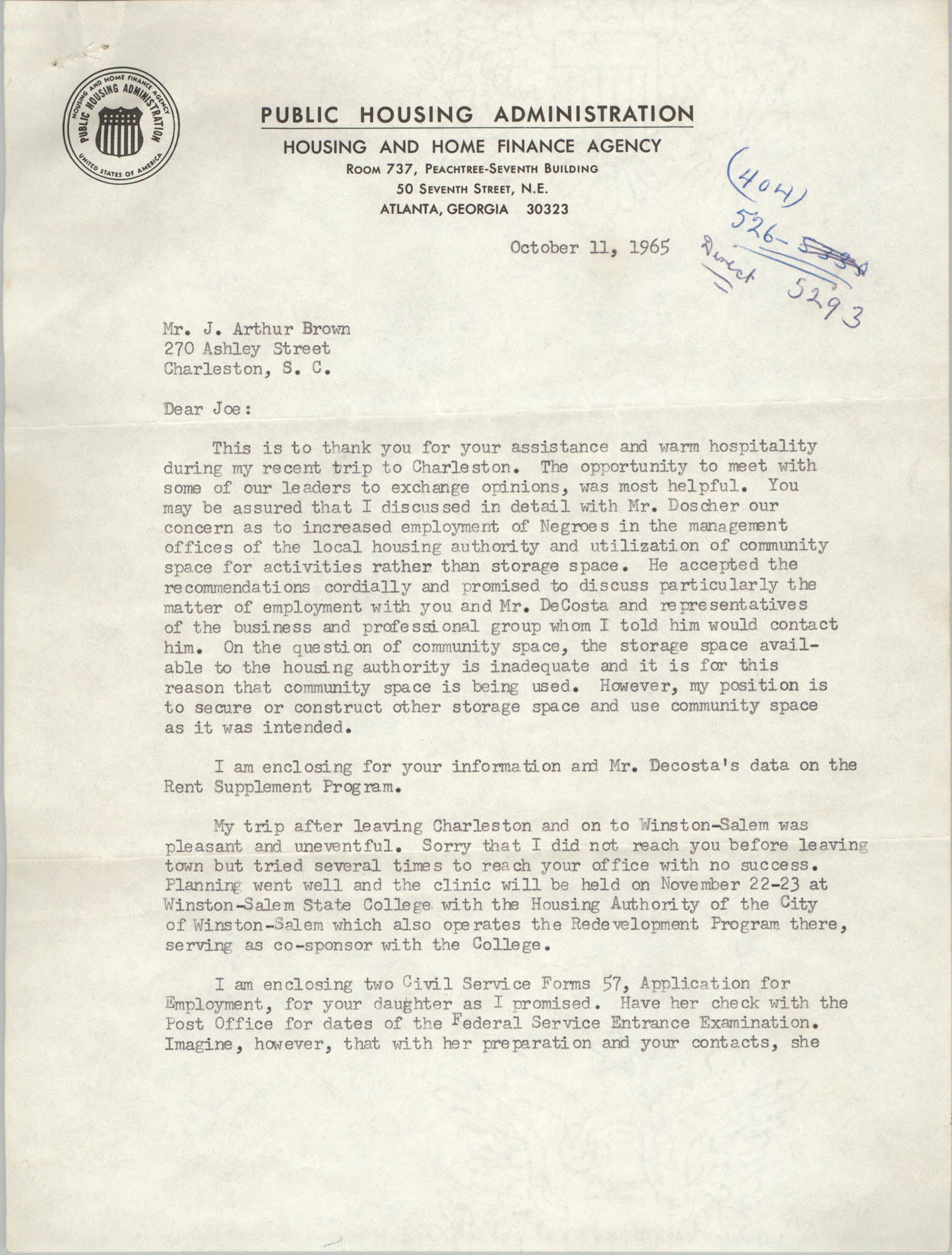 Letter from Hubert M. Jackson to J. Arthur Brown, October 11, 1965