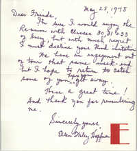 Letter from Ellen Wiley Hoffman, May 28, 1978