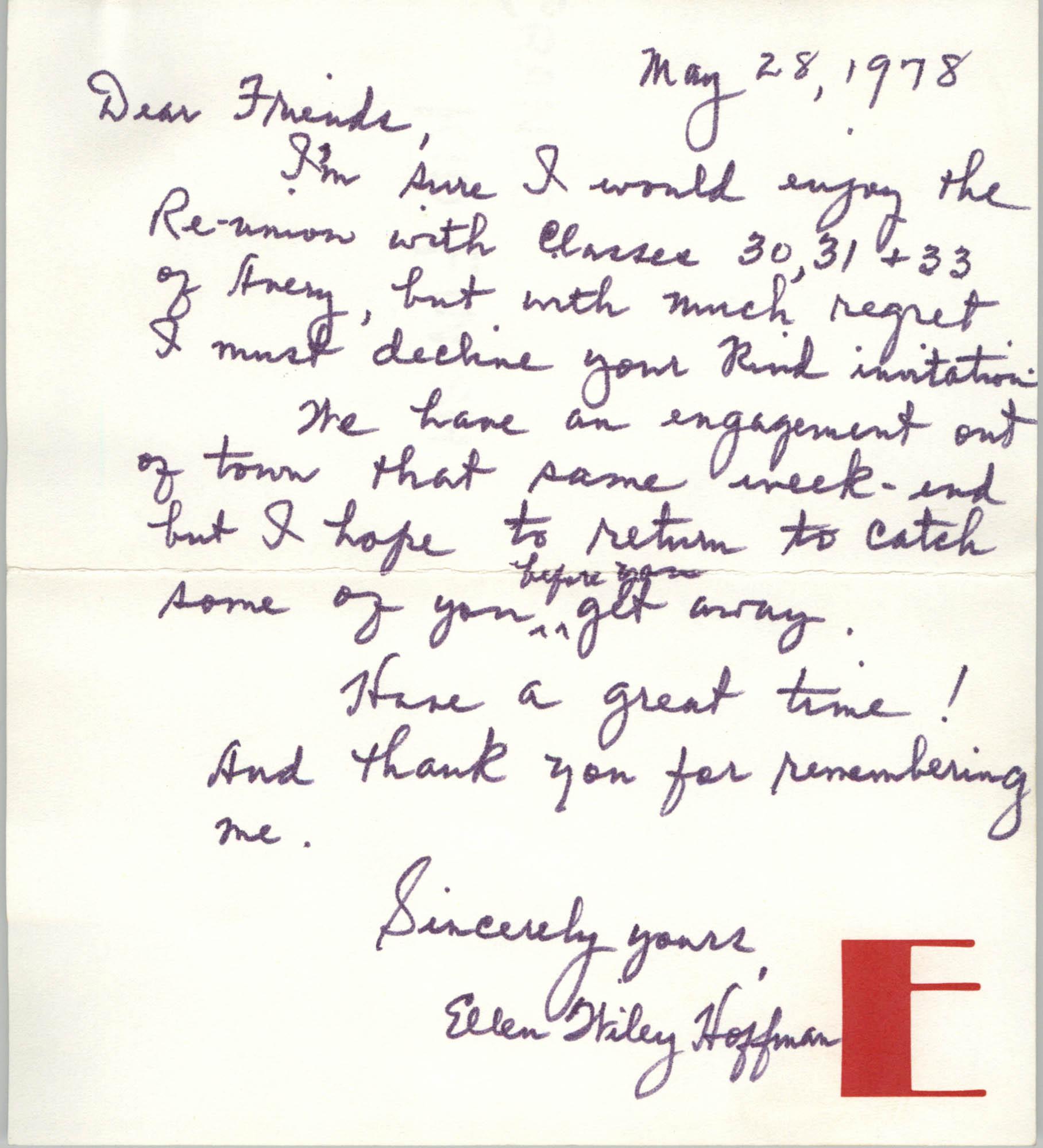 Letter from Ellen Wiley Hoffman, May 28, 1978