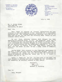 Letter from Herbert U. Fielding to J. Arthur Brown, July 9, 1986