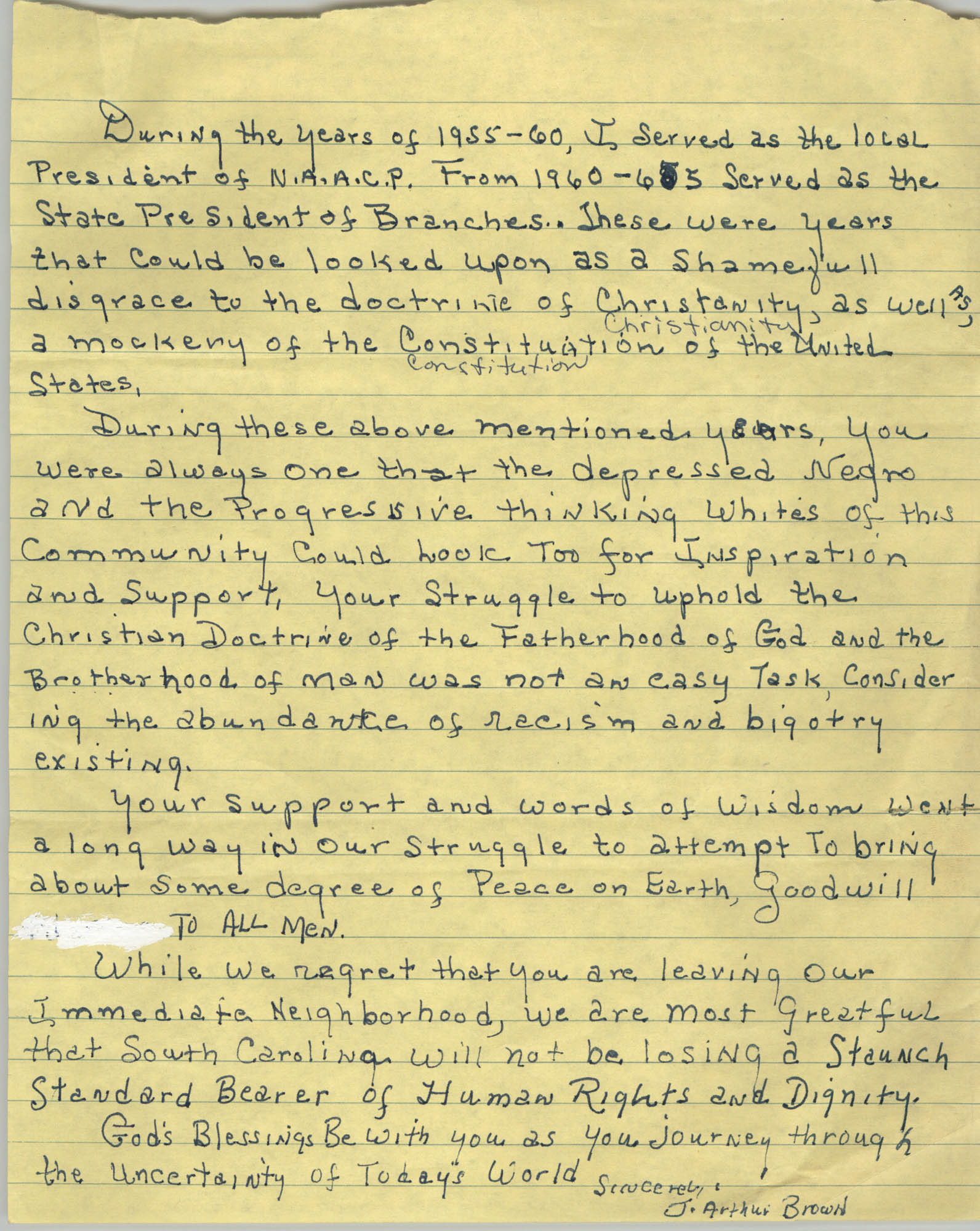Draft of Letter from J. Arthur Brown to Thomas Duffy, June 1987