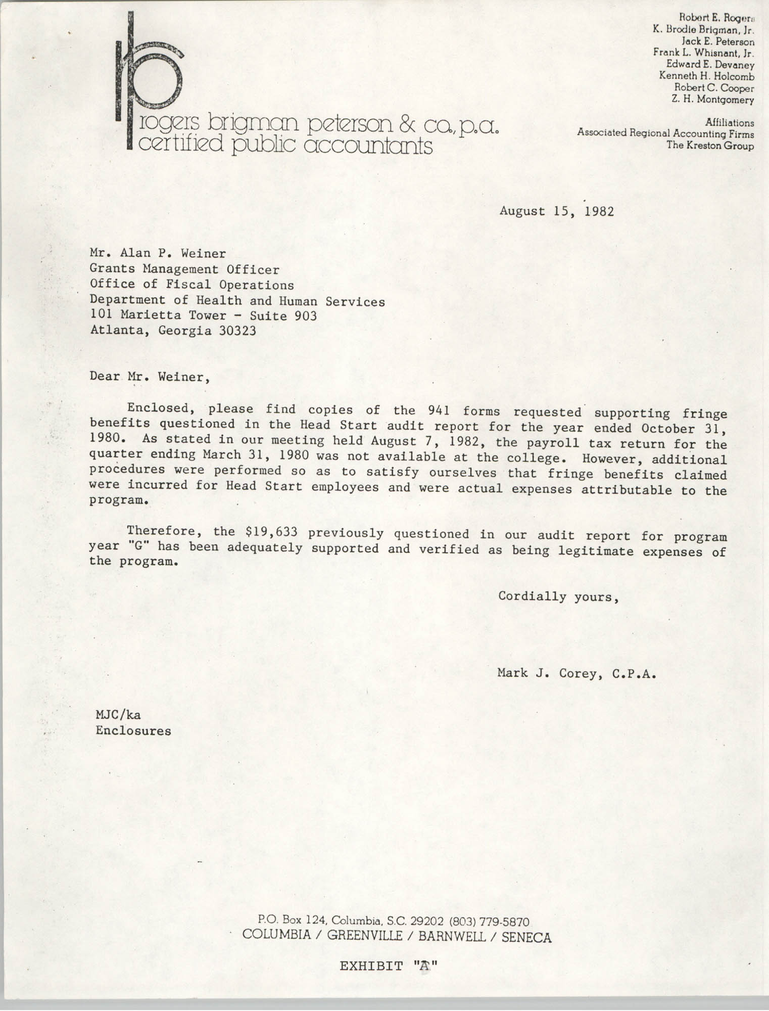 Letter from Mark J. Corey to Alan P. Weiner, August 15, 1982
