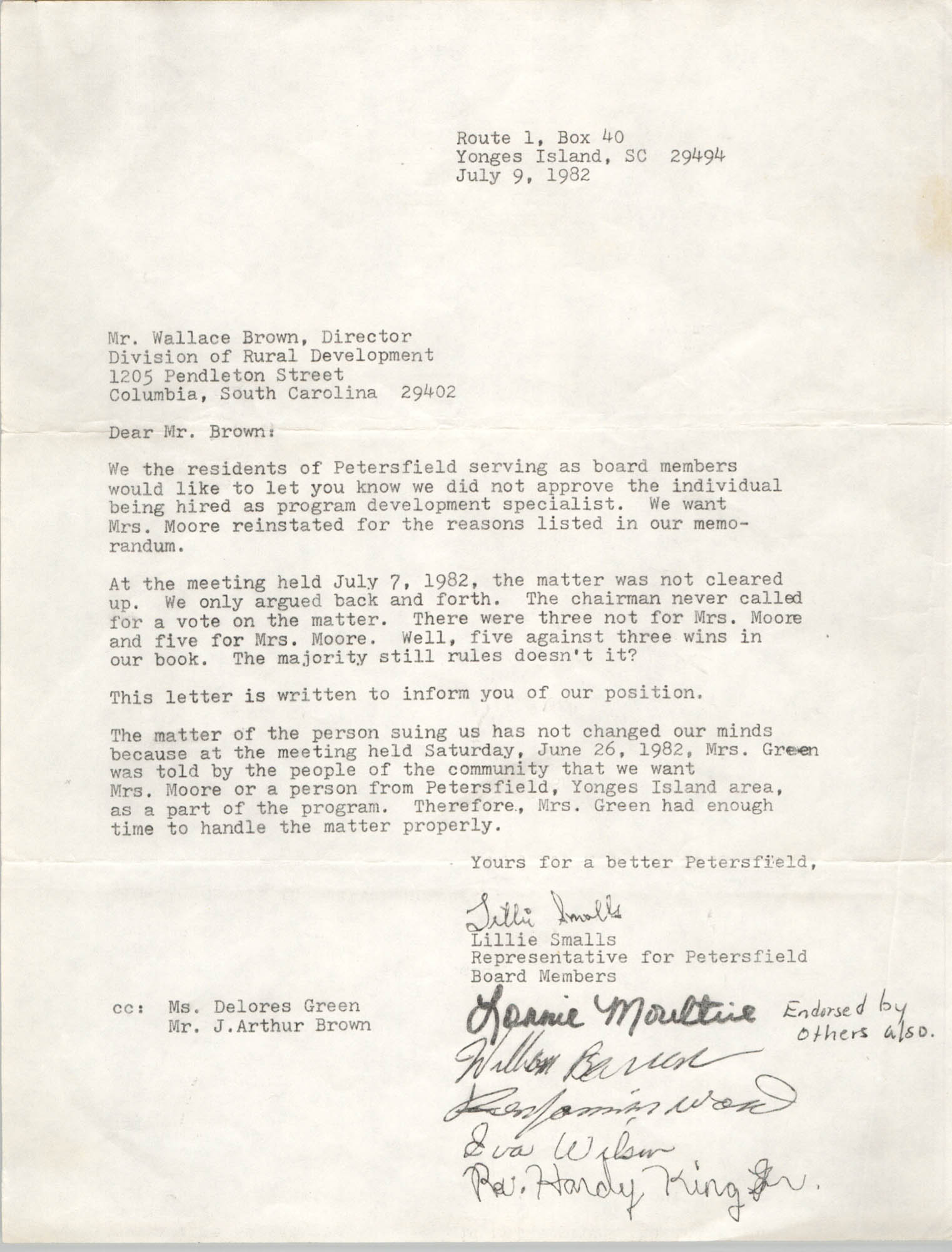 Letter from Lillie Smalls to Wallace Brown, July 9, 1982