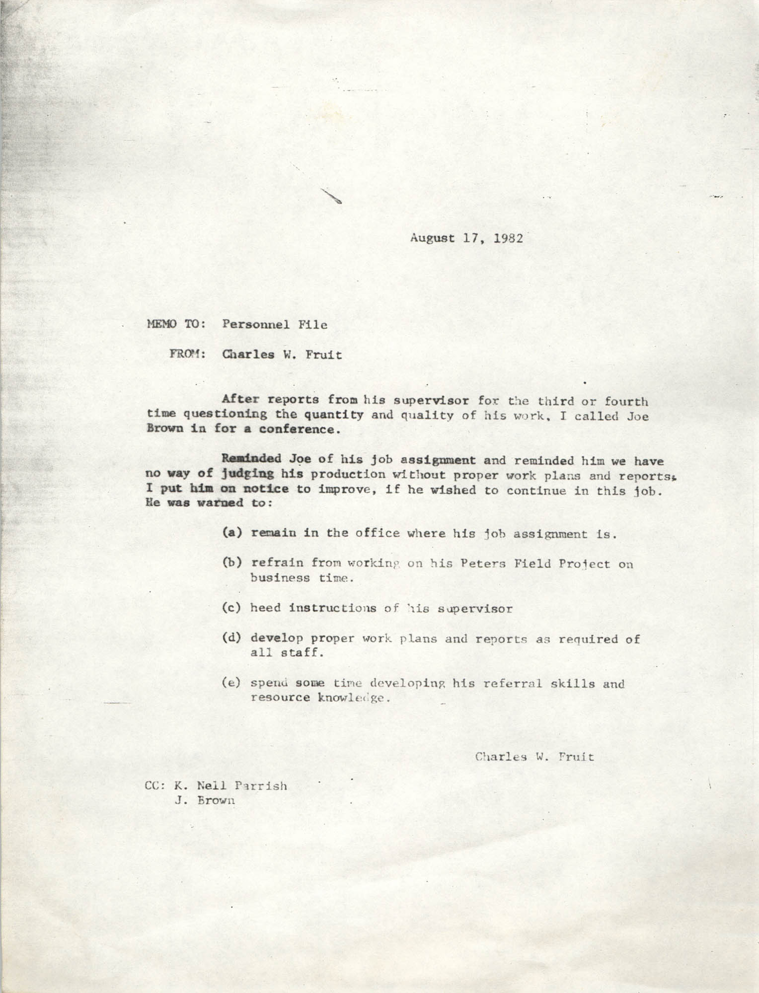 Letter from Charles W. Fruit, August 17, 1982