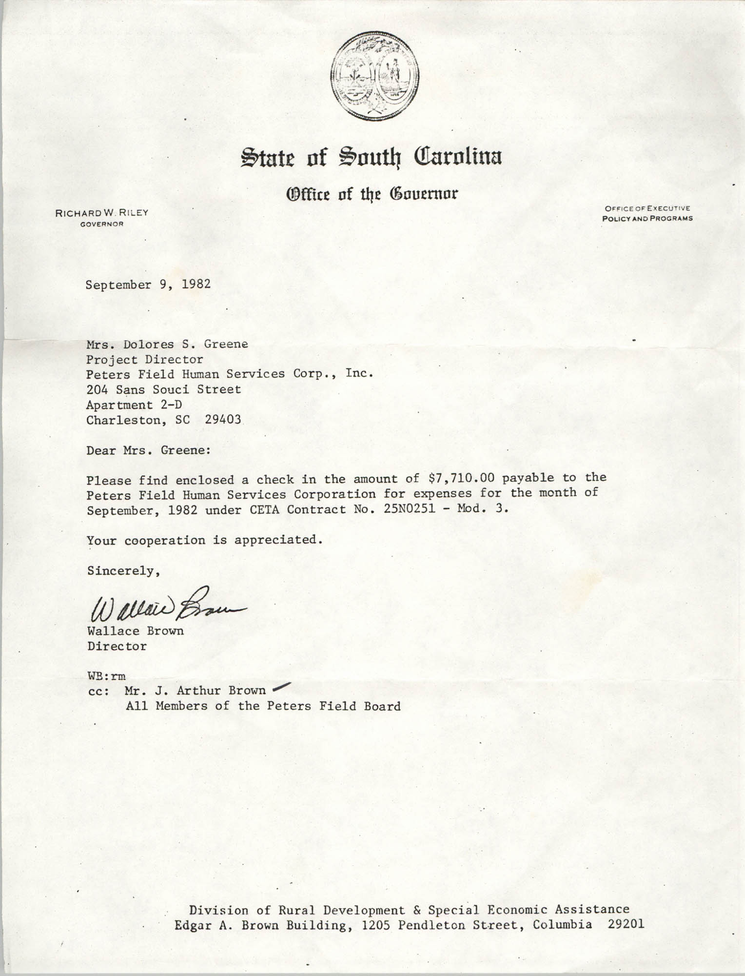 Letter from Wallace Brown to Dolores S. Greene, September 9, 1982