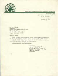 Letter from Ophie A. Franklin to J. Arthur Brown, October 28, 1982