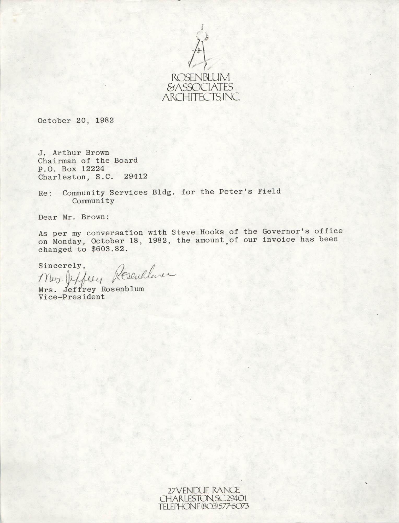 Letter from Jeffrey Rosenblum to J. Arthur Brown, October 20, 1982