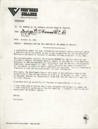 Voorhees College Memorandum, October 13, 1982