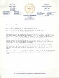Charleston Branch of the NAACP Memorandum, October 12, 1992
