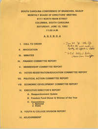 Agenda, South Carolina Conference of Branches of the NAACP, June 13, 1992