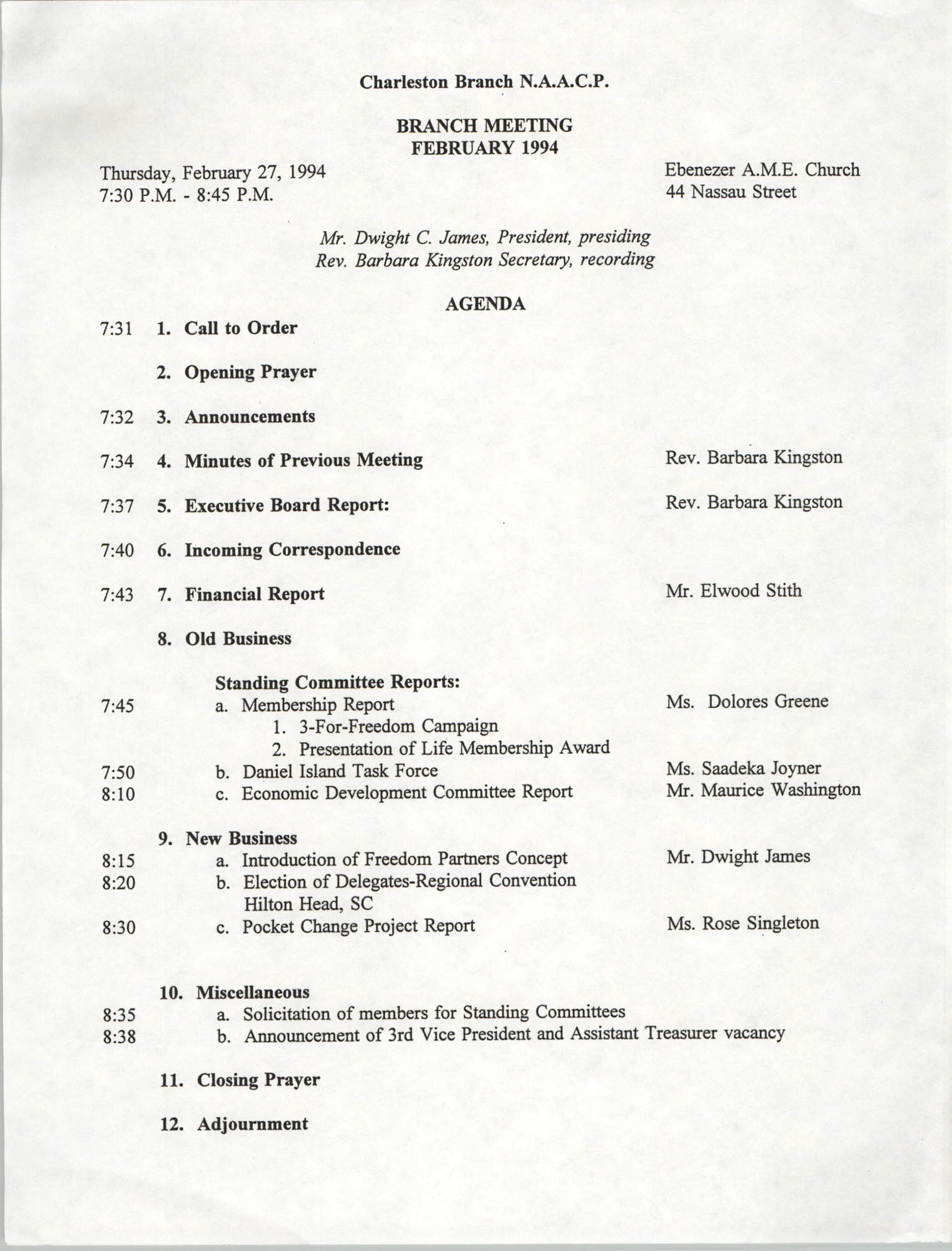 Agenda, Charleston Branch of the NAACP Branch Meeting, February 27, 1994