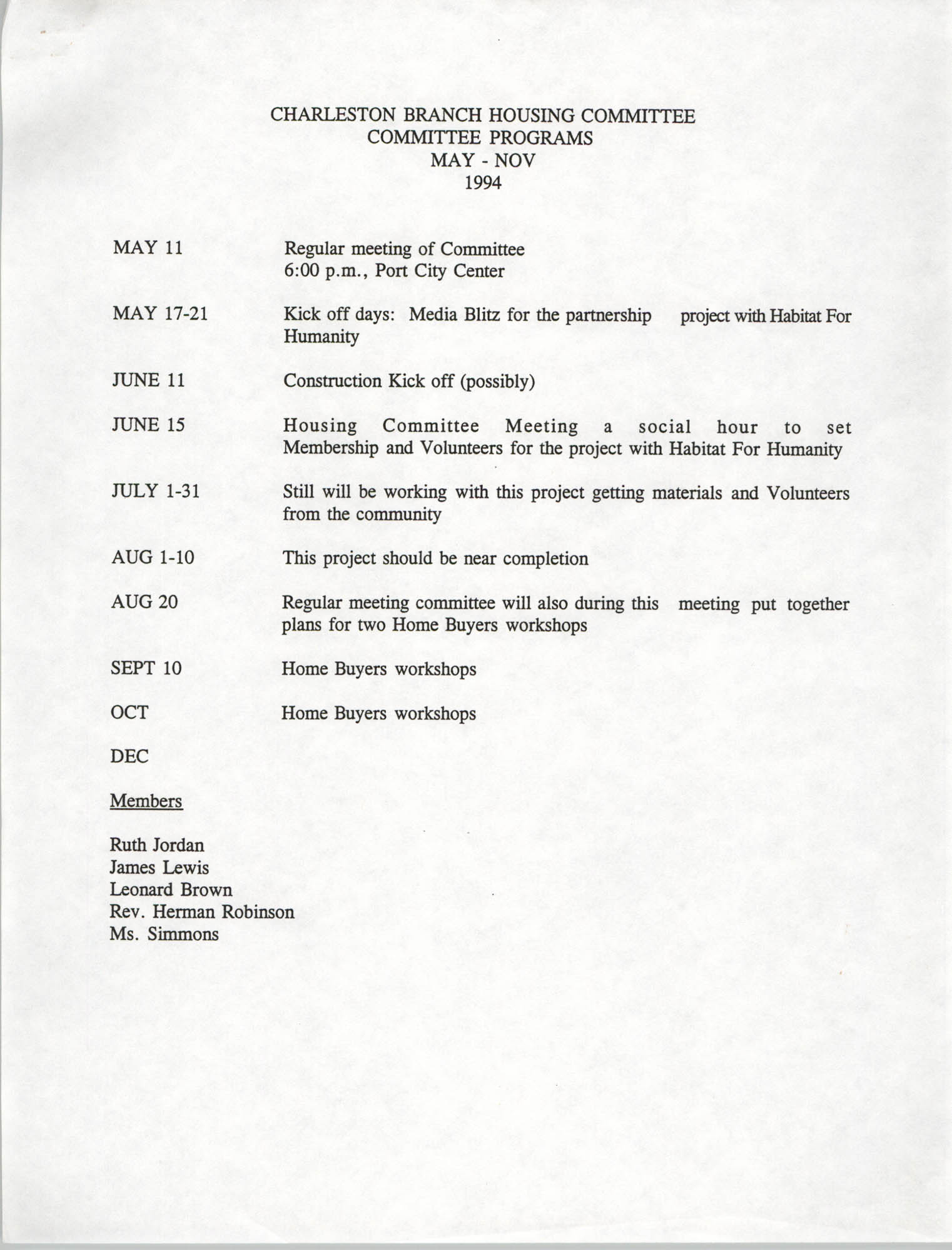 Housing Committee Programs, Charleston Branch of the NAACP, 1994