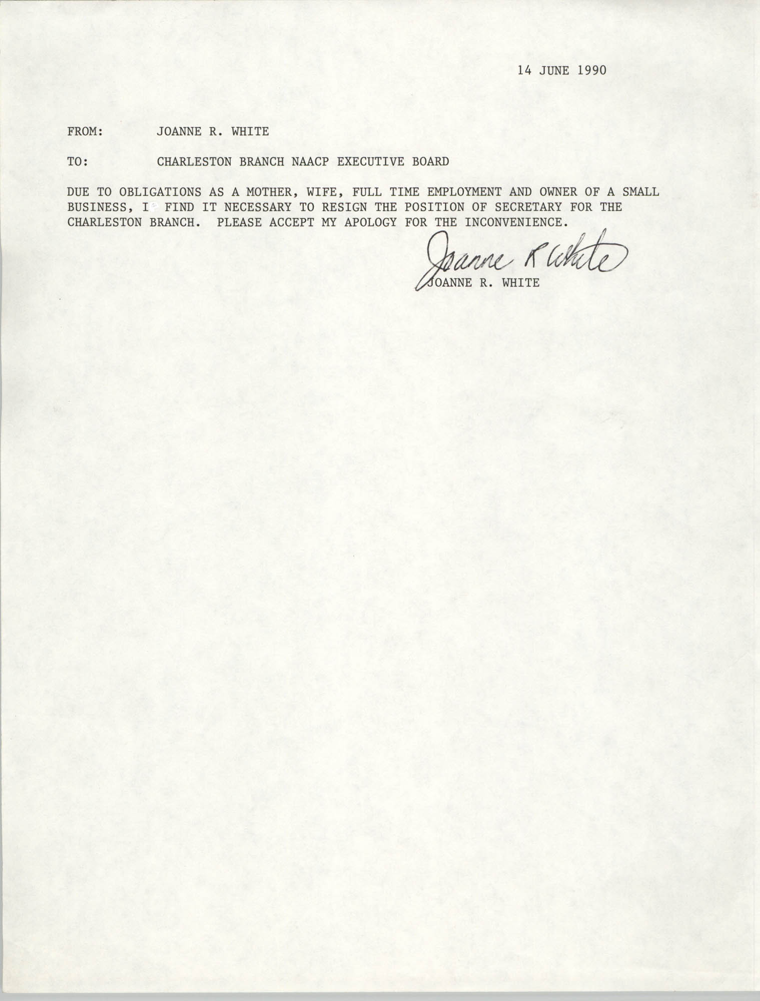 Charleston Branch of the NAACP Memorandum, June 14, 1990
