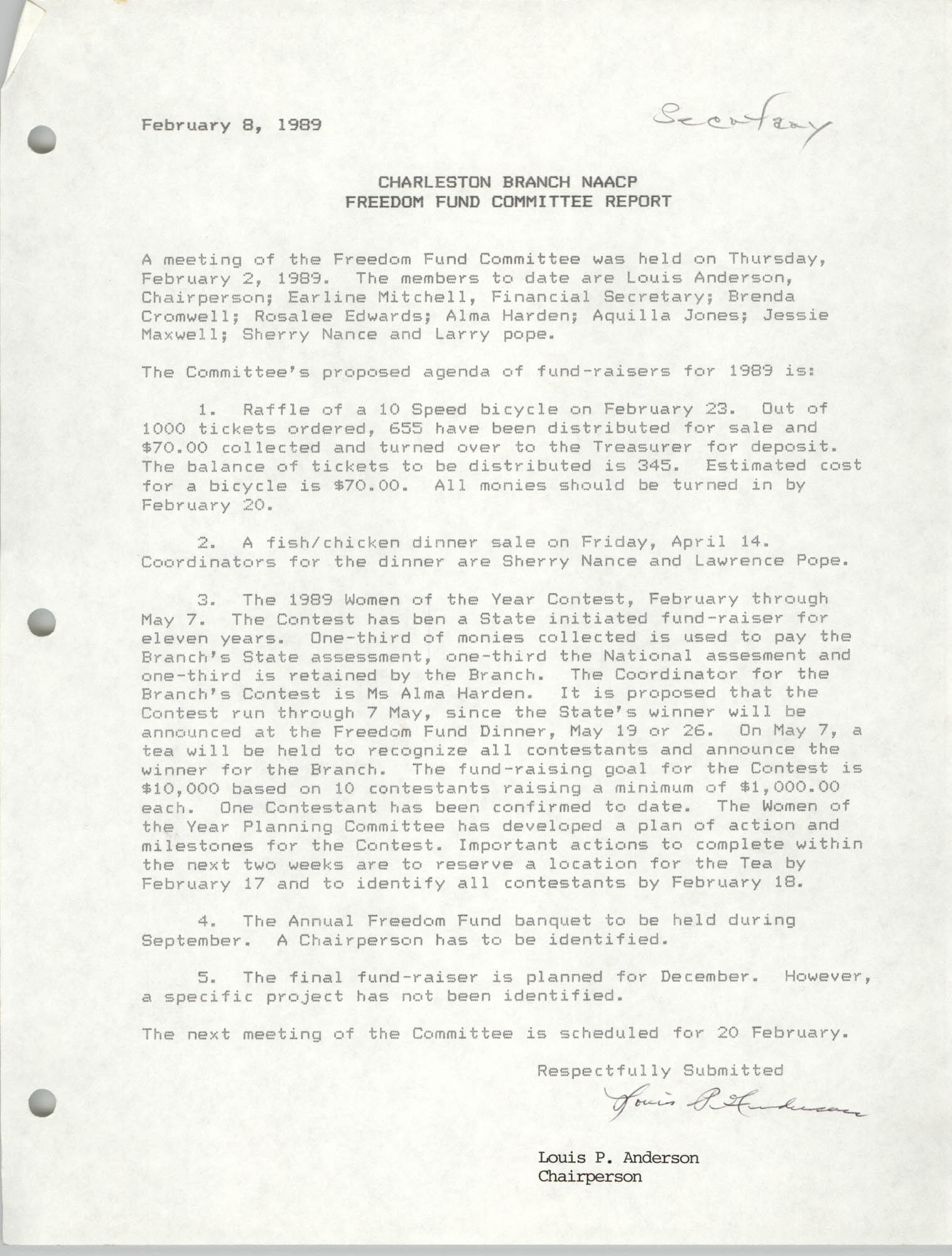 Charleston Branch of the NAACP Freedom Fund Committee Report, February 8, 1989