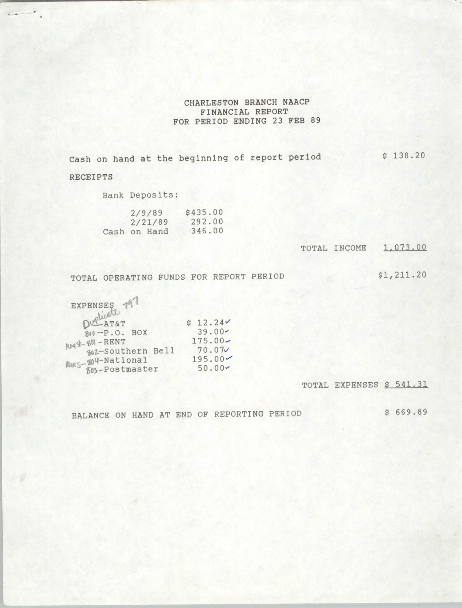 Charleston Branch of the NAACP Financial Report, February 23, 1989