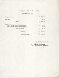 Charleston Branch of the NAACP Education Committee Treasurer's Report, September 11, 1980