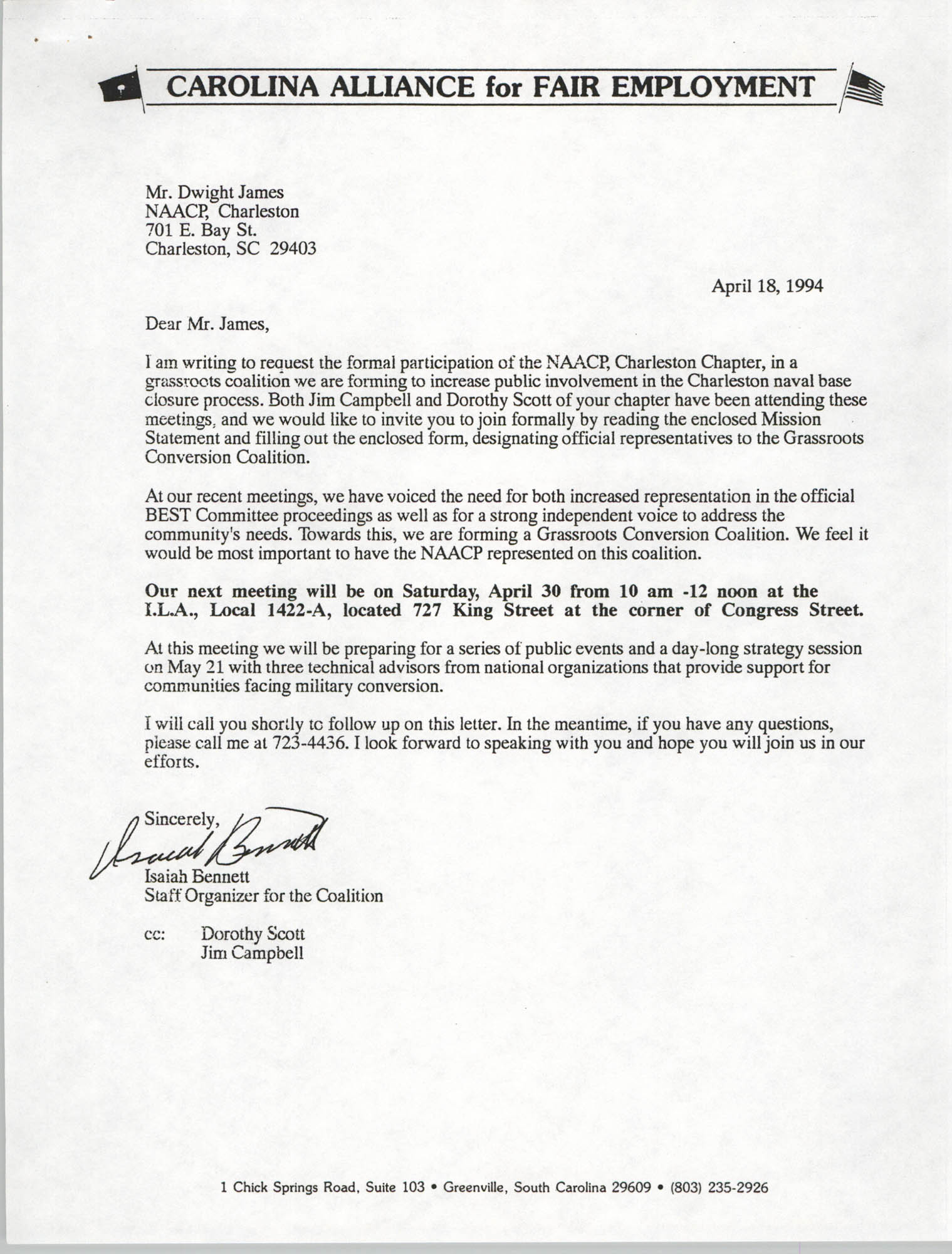 Letter from Isaiah Bennett to Dwight James, April 18, 1994