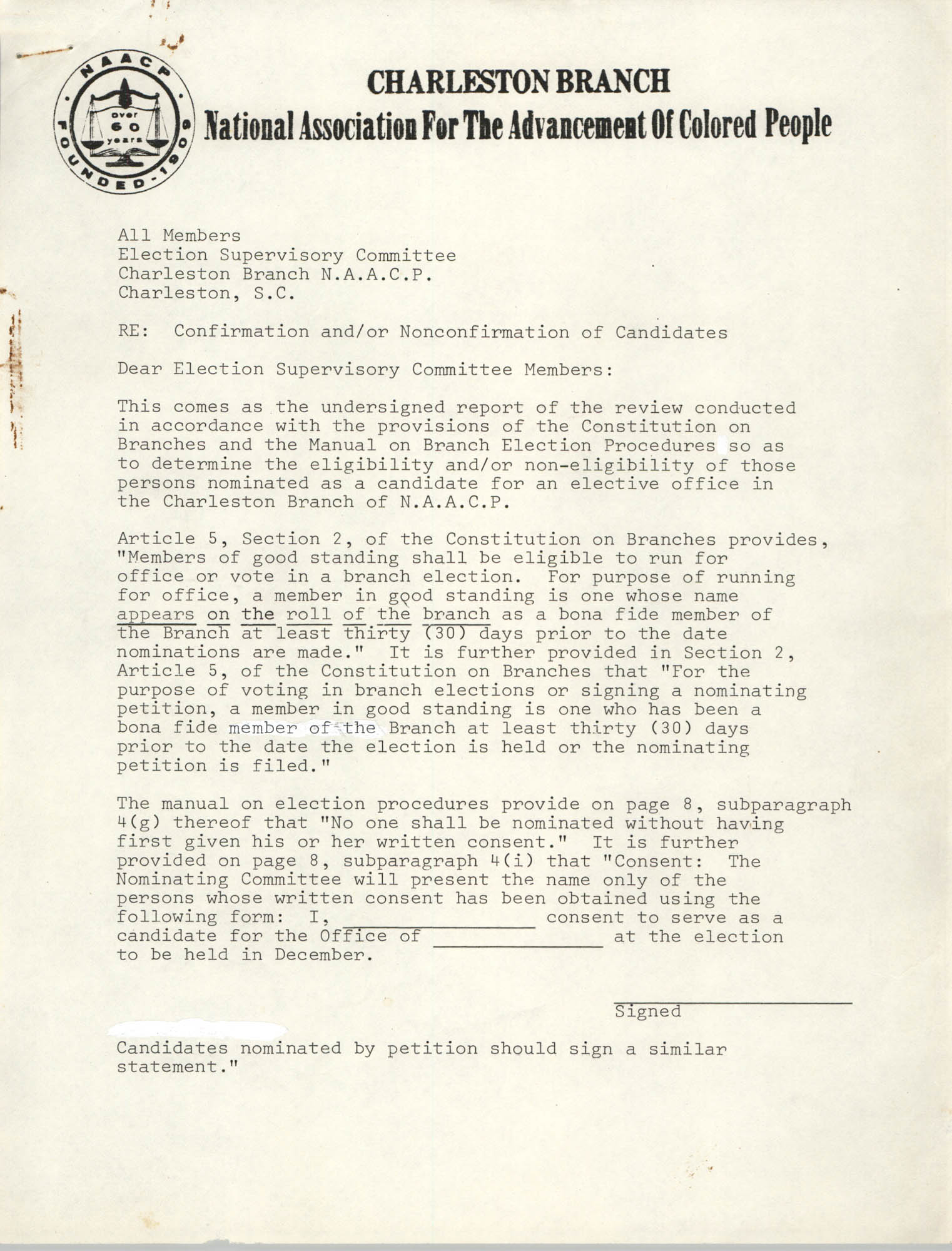 Charleston Branch of the NAACP Memorandum, December 3, 1980