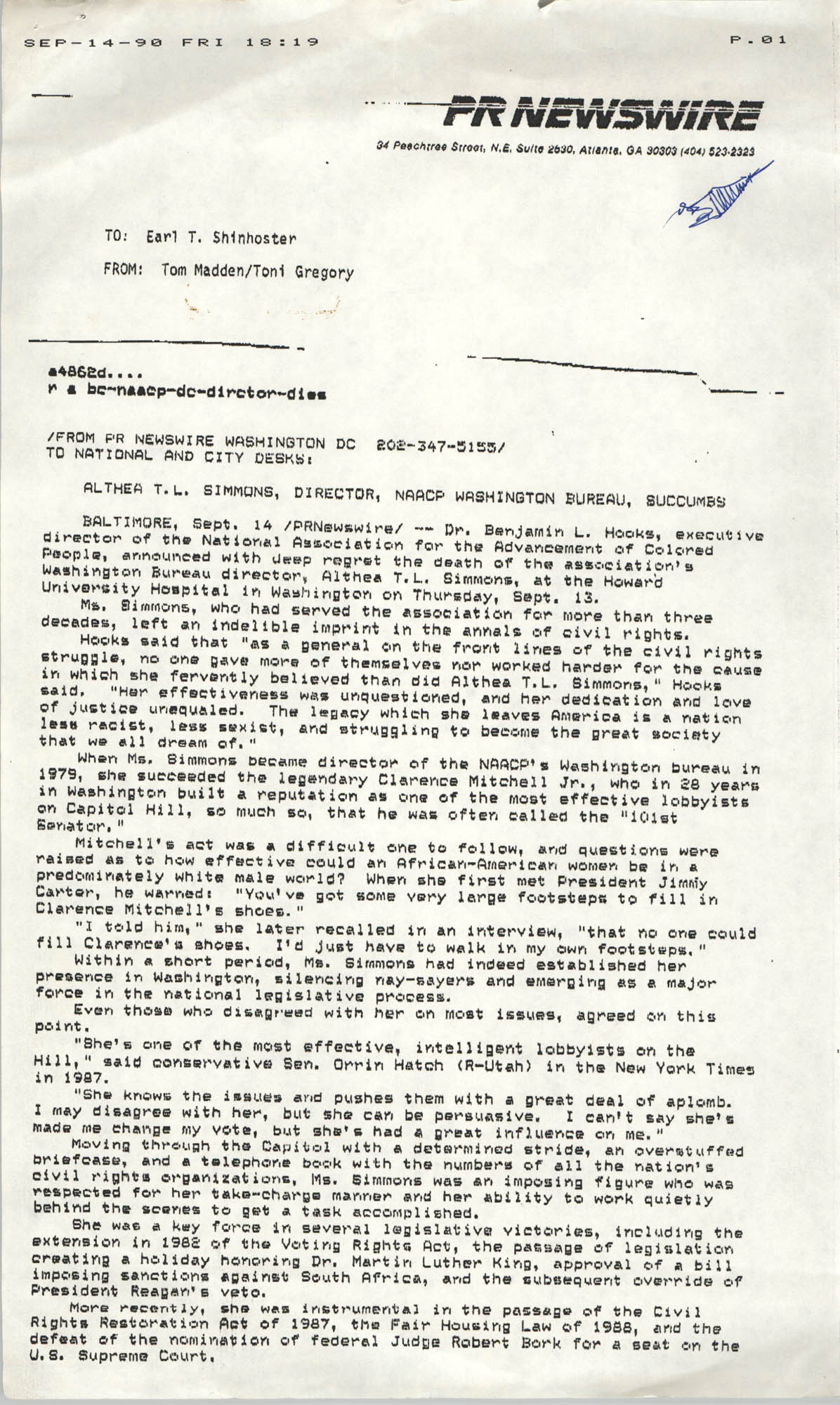 PR Newswire from Tom Madden and Toni Gregory to Earl T. Shinhoster, September 14, 1990