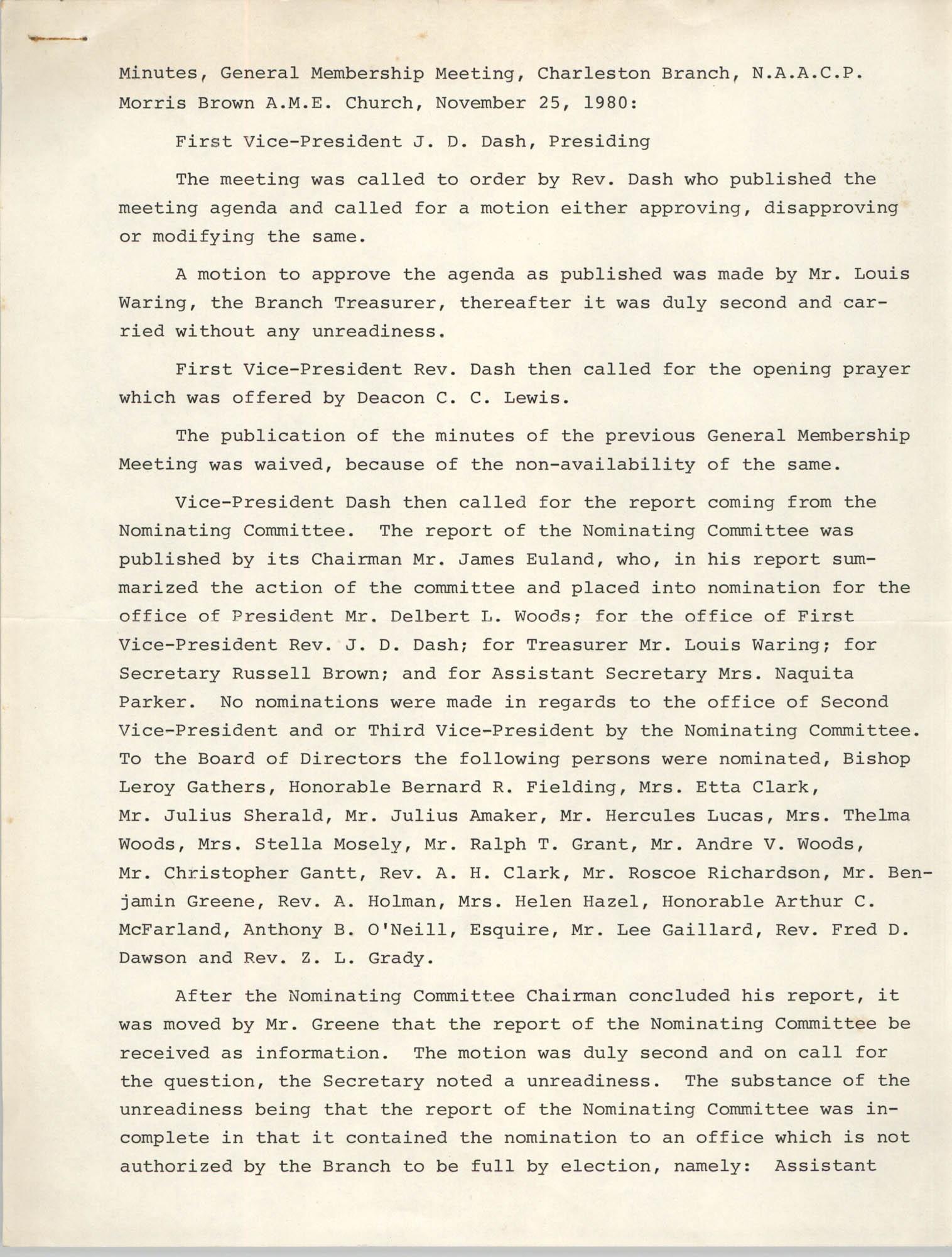 Minutes, General Membership Meeting, Charleston Branch, November 25, 1980