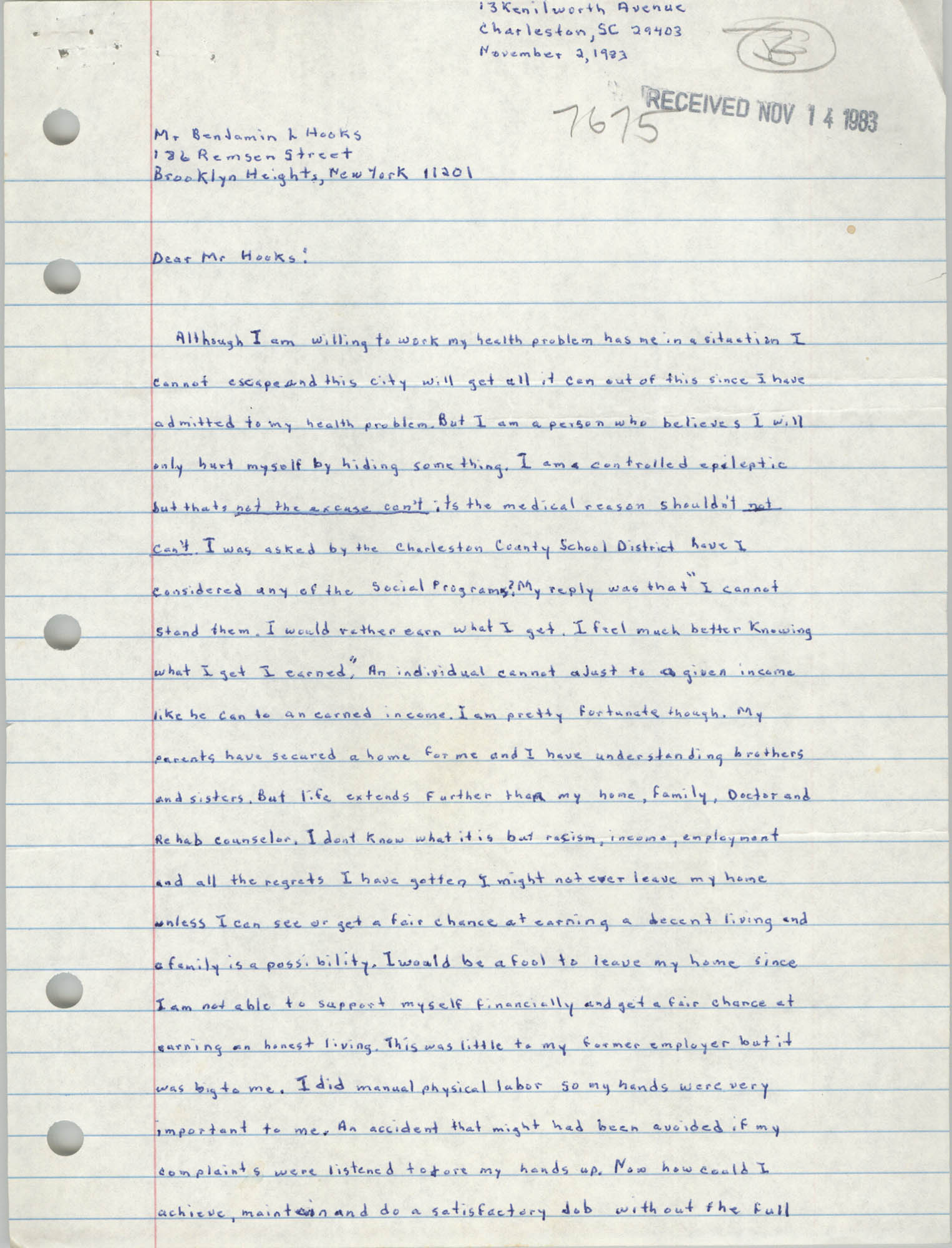 Letter from E. Michael Bonaparte to Benjamin L. Hooks, November 2, 1983