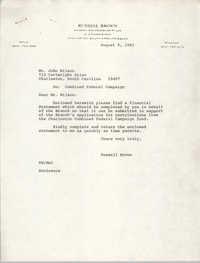 Letter from Russell Brown to John Wilson, August 9, 1982