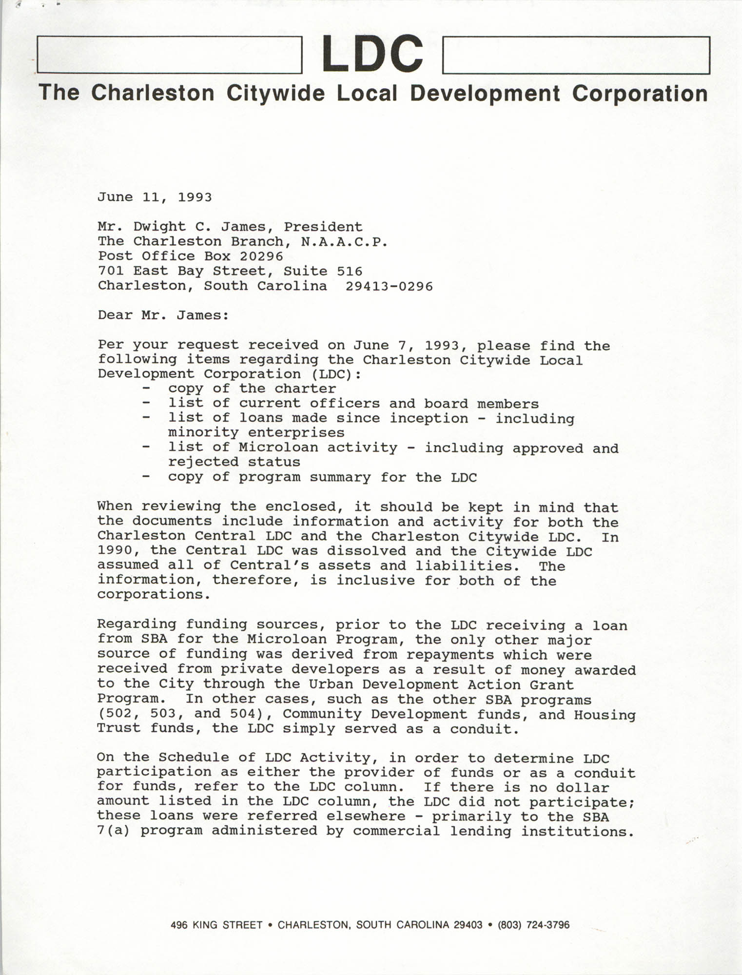 Letter from Sharon A. Brennan to Dwight C. James, June 11, 1993