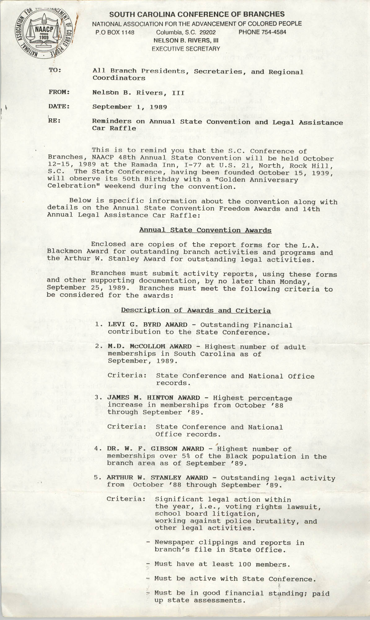 South Carolina Conference of Branches of the NAACP Memorandum, September 1, 1989