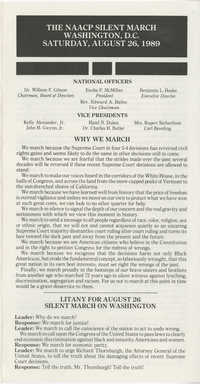 Pamphlet, The NAACP Silent March on Washington, DC, August 26, 1989