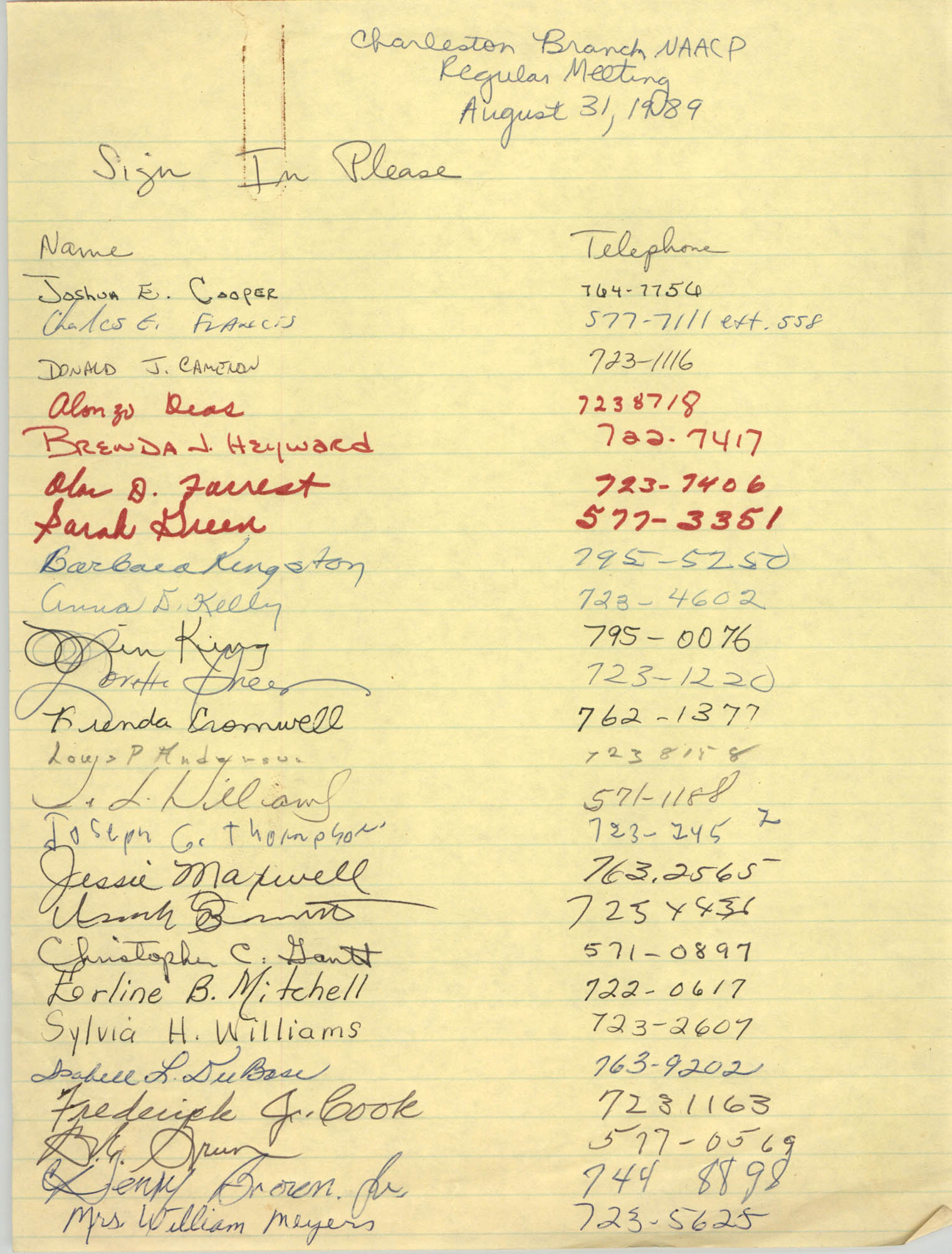 Sign-in Sheet, Charleston Branch of the NAACP, Executive Board Meeting, August 31, 1989