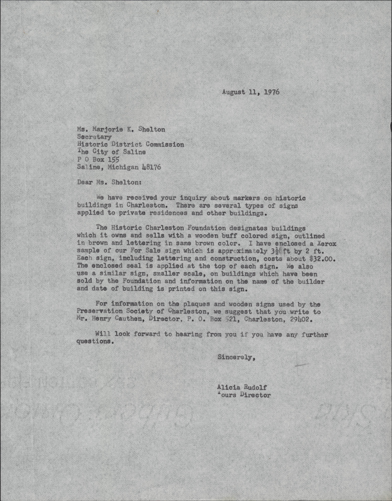 Letter from Alicia Rudolf to Marjorie K. Shelton