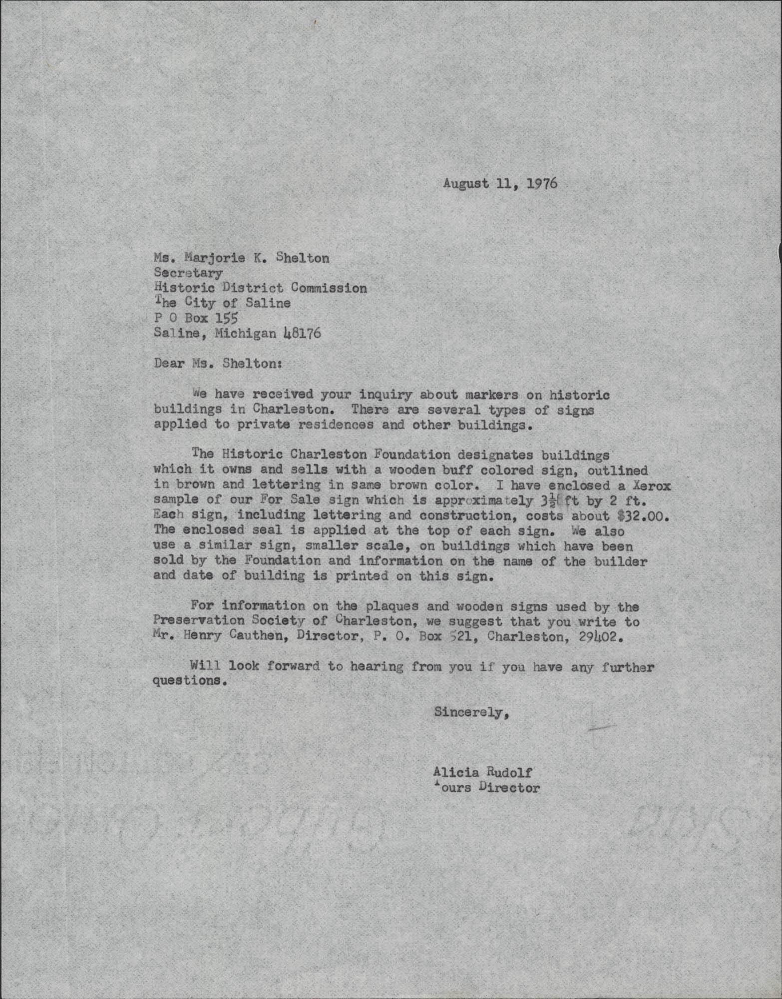 Letter from Alicia Rudolf to Marjorie K. Shelton