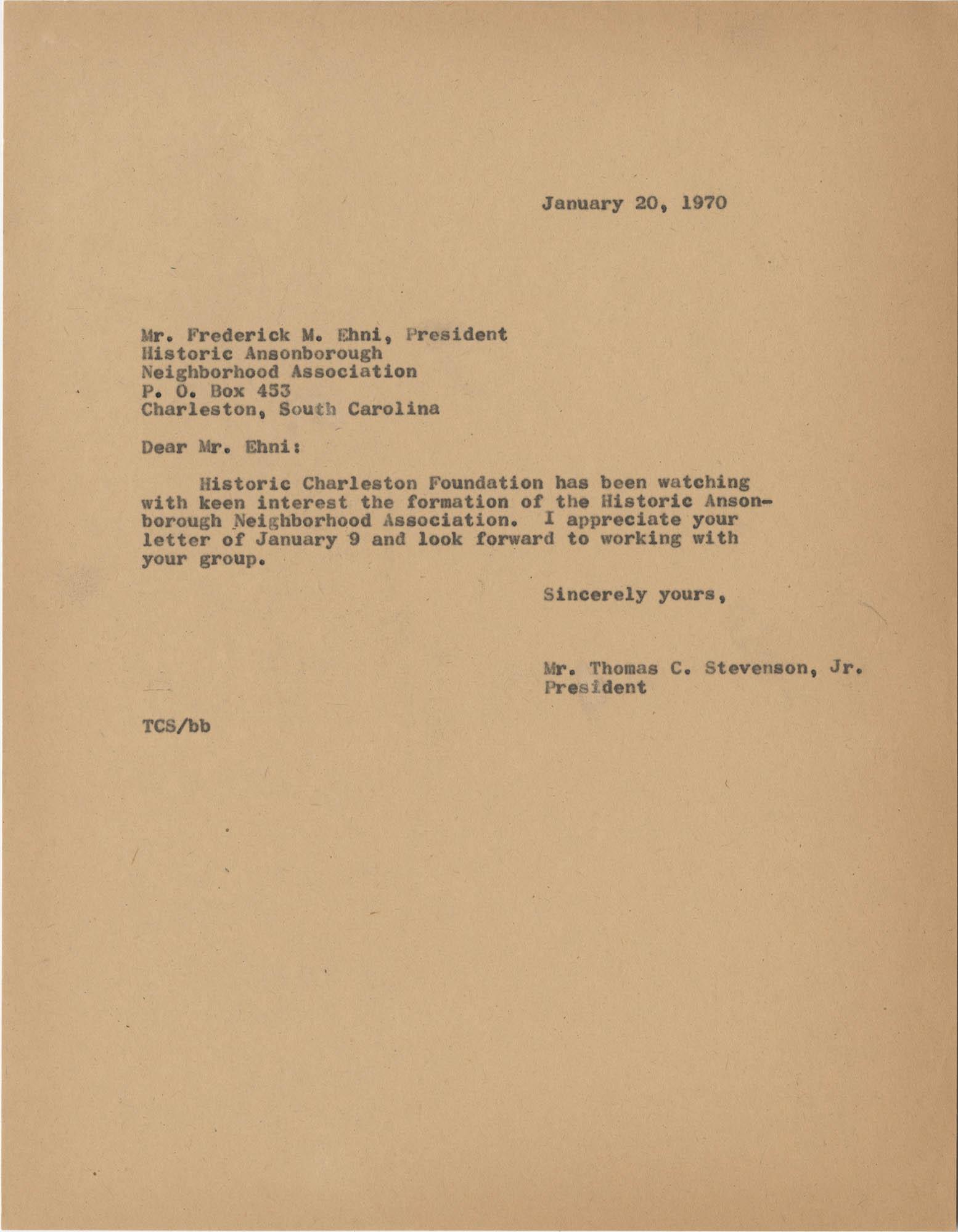 Letter from Thomas C. Stevenson, Jr., to Frederick M. Ehni