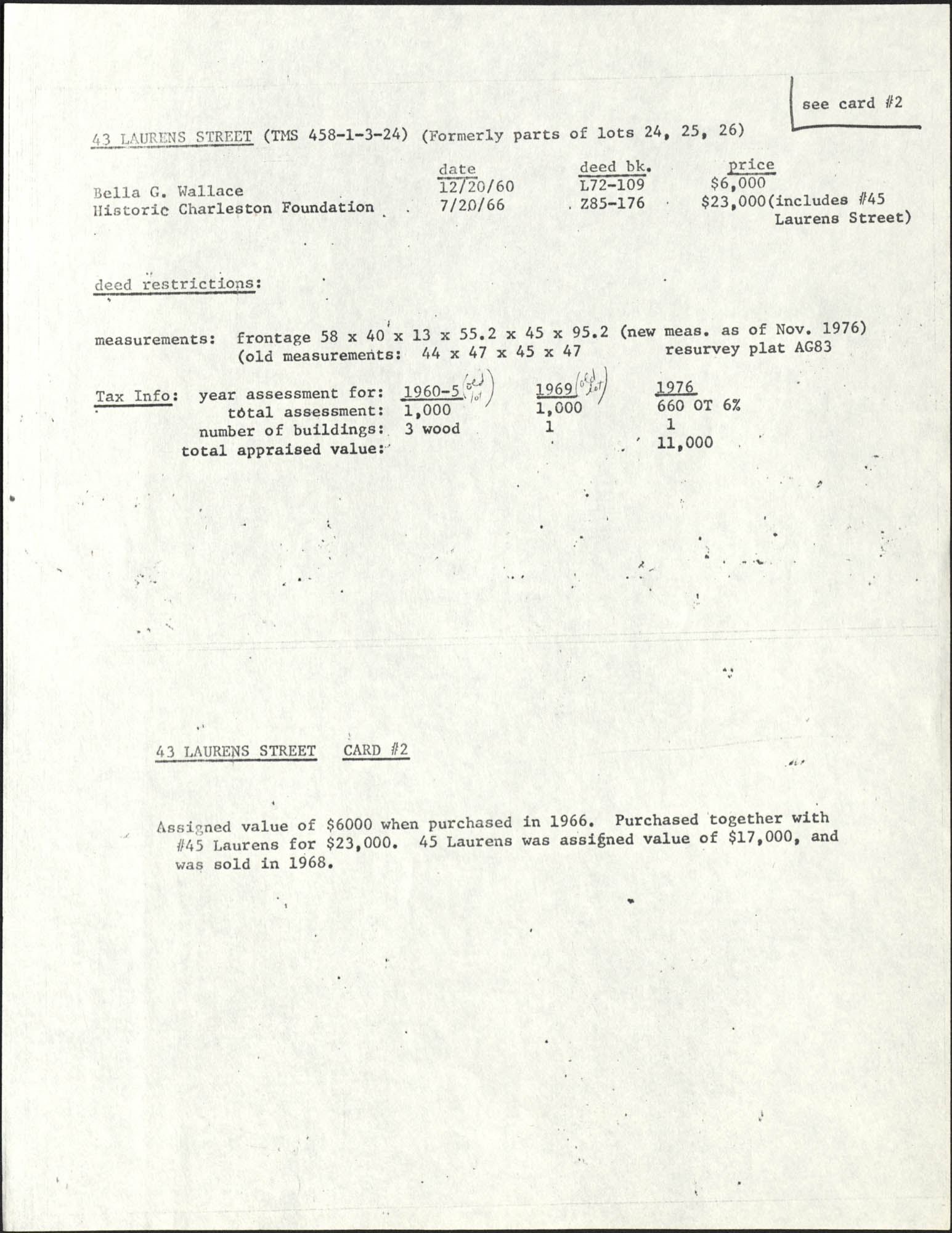 Deed records for 43 Laurens Street