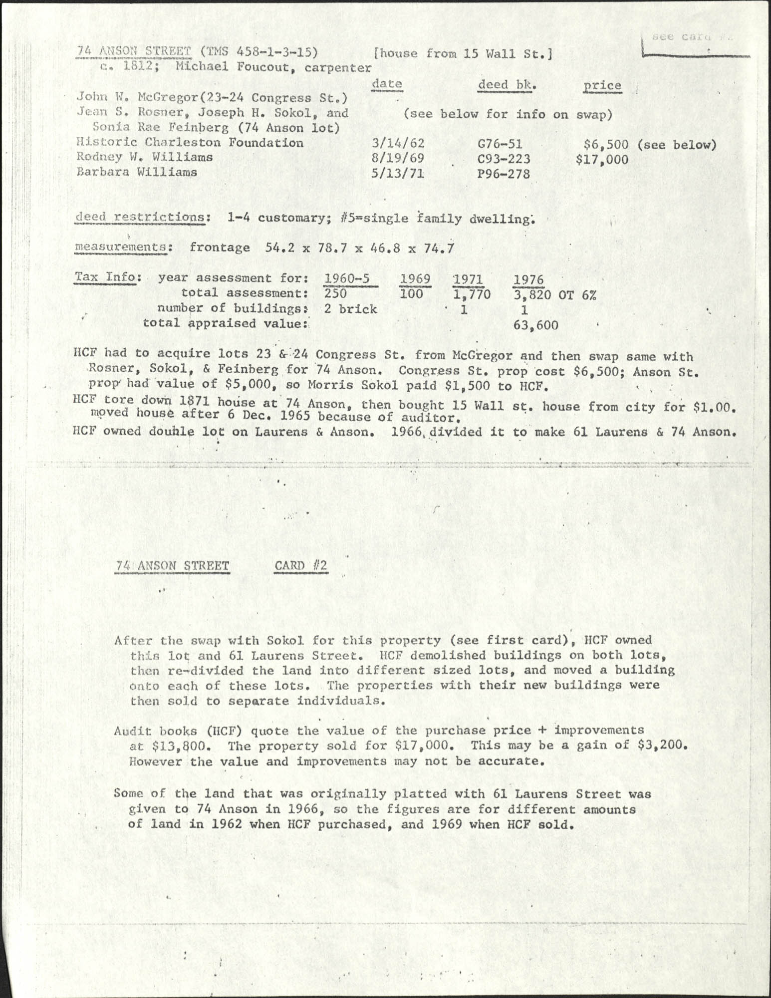 Deed records for 74 Anson Street