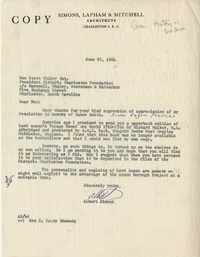 Letter from Albert Simons to Ben Scott Whaley Esq.