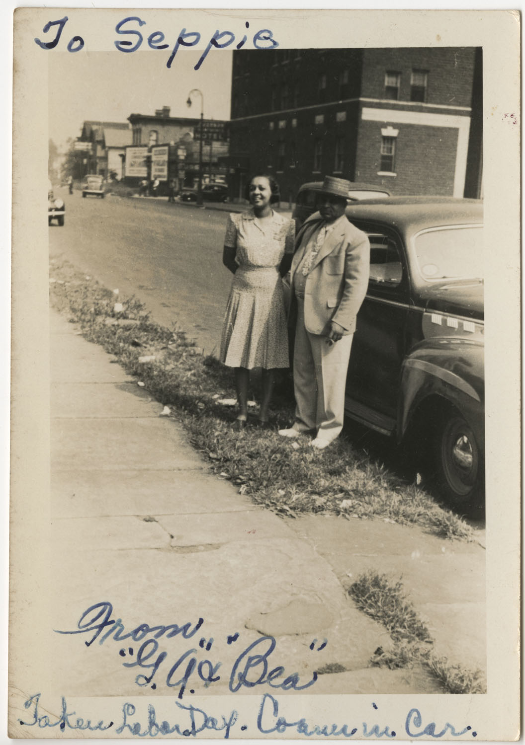 """G.A."" and ""Bea"" Standing By Car, Columbia, South Carolina"