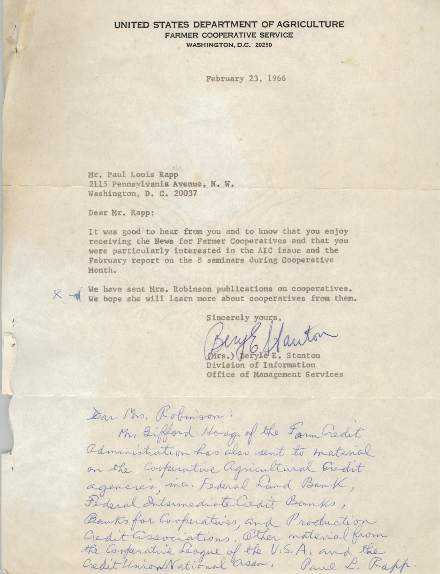 Letter from Paul Louis Rapp to Bernice Robinson, February 23, 1966