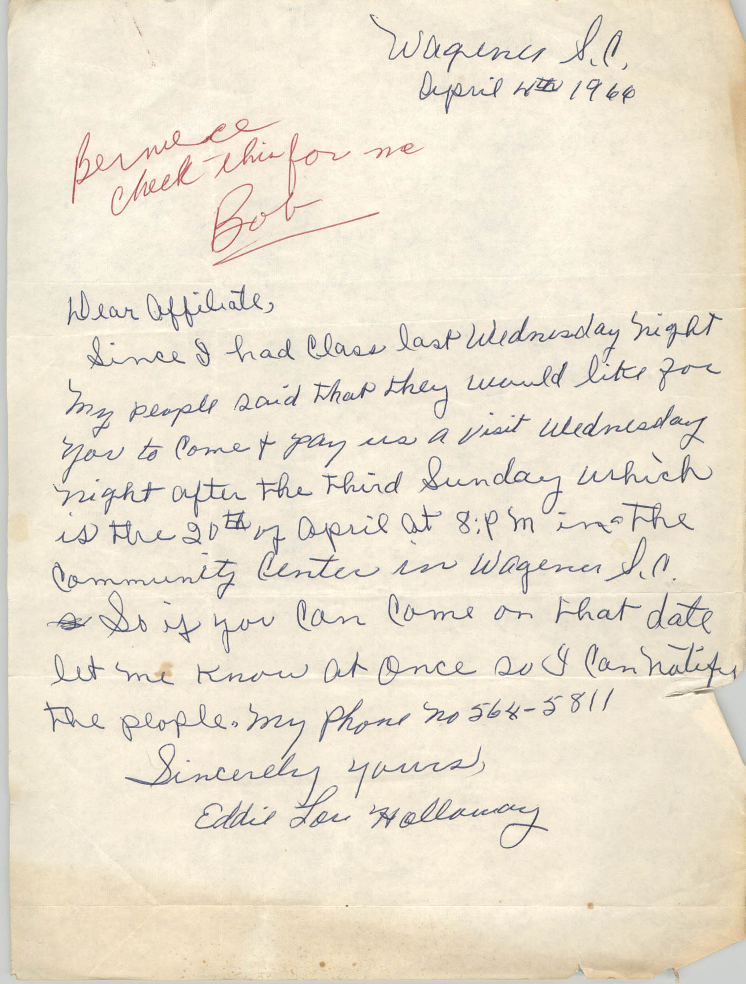 Letter from Eddie Holloway to
