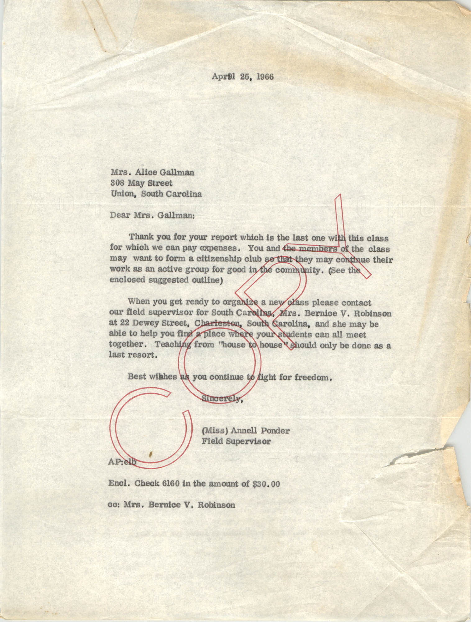 Letter from Annell Ponder to Alice Gallman, April 25, 1966