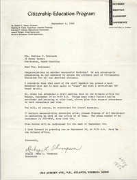 Letter from Ruby L. Thompson to Bernice V. Robinson, September 6, 1966