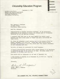 Letter from Ruby L. Thompson to Bernice V. Robinson, September 6, 1966