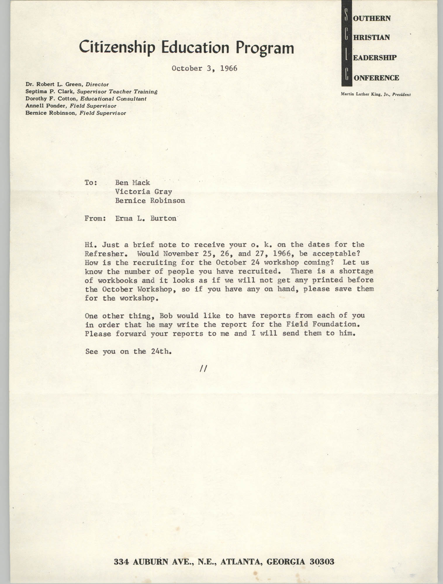 Letter from Erma L. Burton to Ben Mack, Victoria Gray, and Bernice Robinson, October 3, 1966