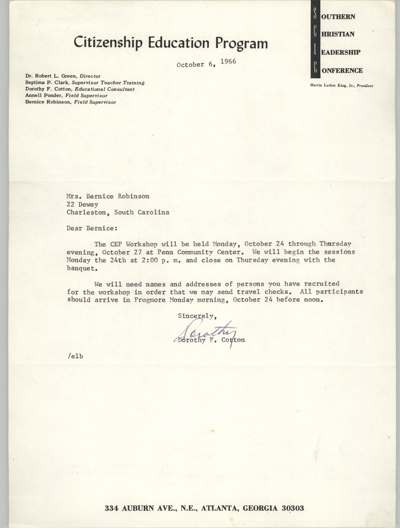 Letter from Dorothy F. Cotton to Bernice Robinson, October 6, 1966