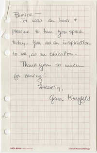 Note from Gena Kurzfeld to Bernice Robinson
