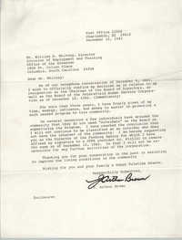 Letter from J. Arthur Brown to William B. Whitney, December 12, 1983