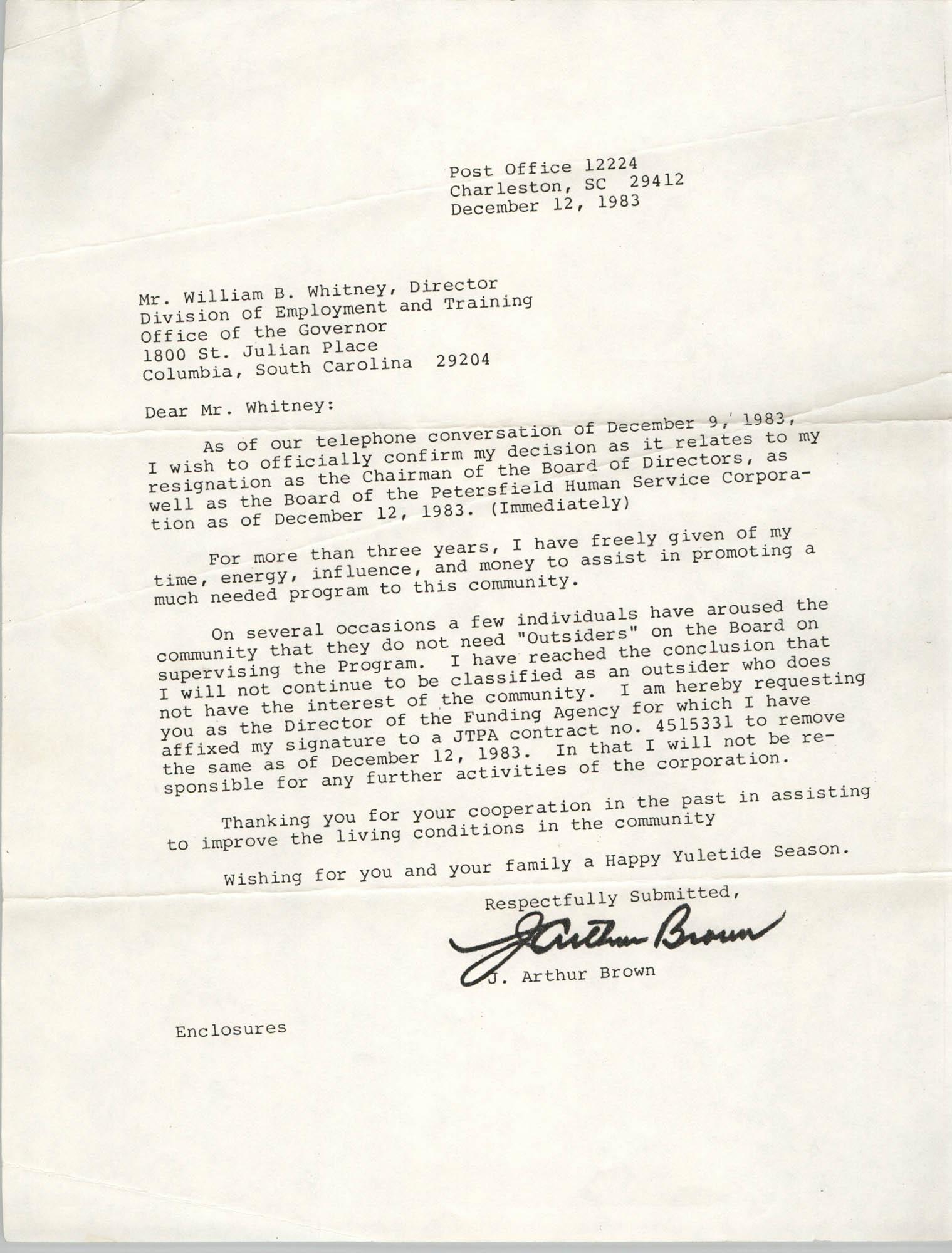 Letter from J. Arthur Brown to William B. Whitney, December 12, 1983