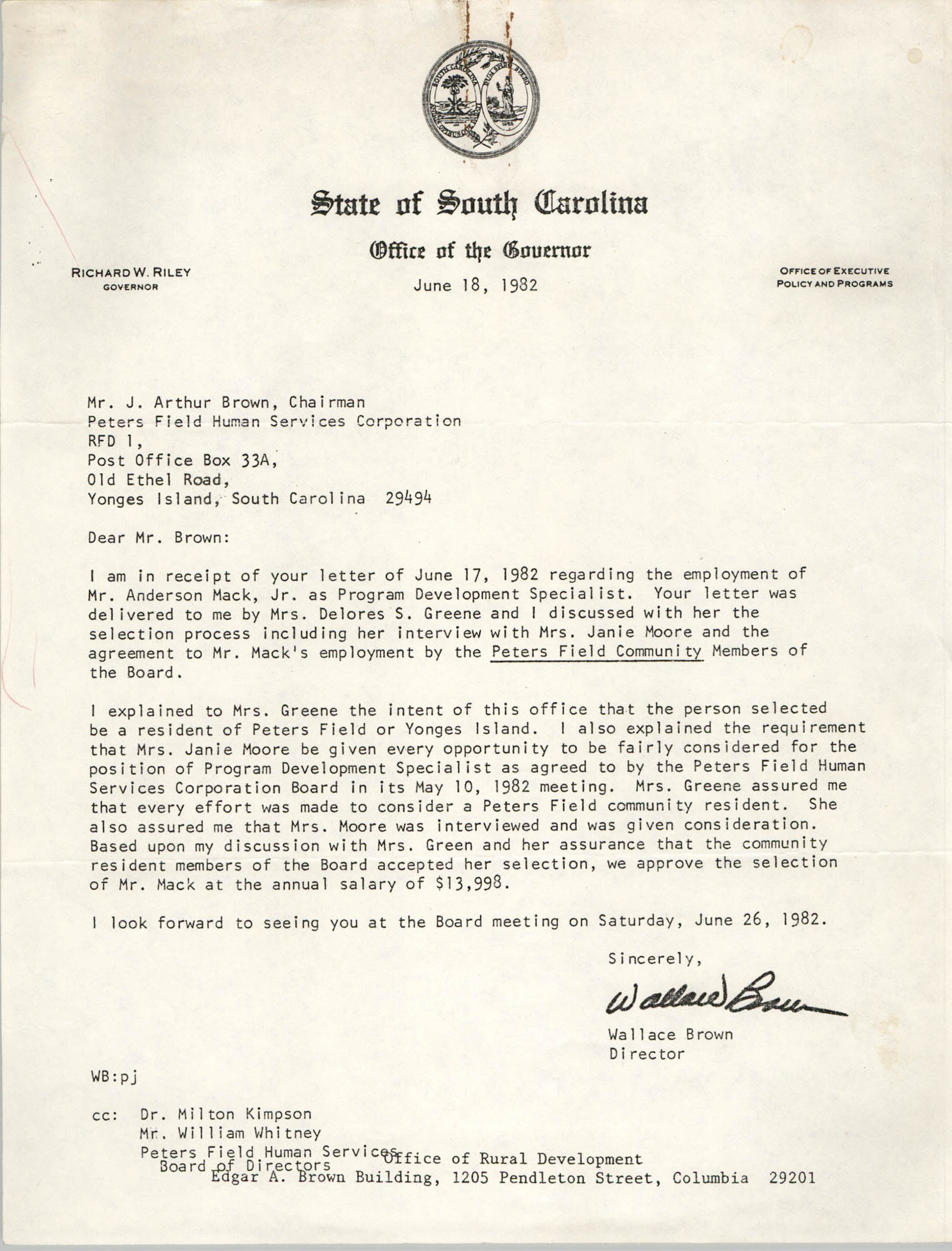 Letter from Wallace Brown to J. Arthur Brown, June 18, 1982
