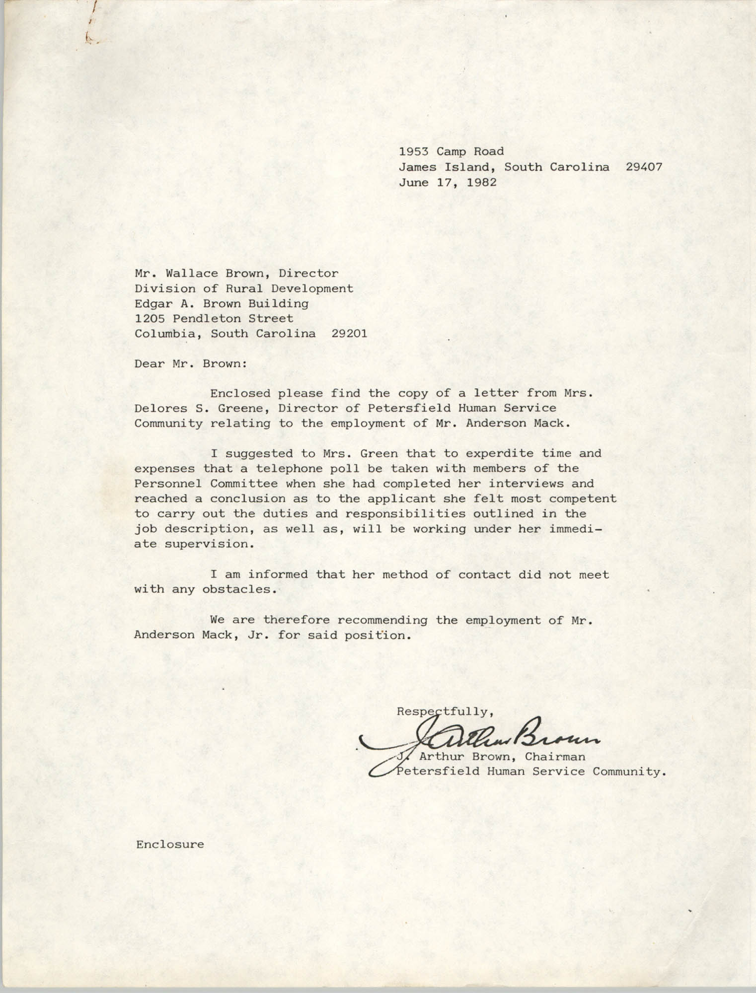 Letter from Wallace Brown to J. Arthur Brown, June 17, 1982