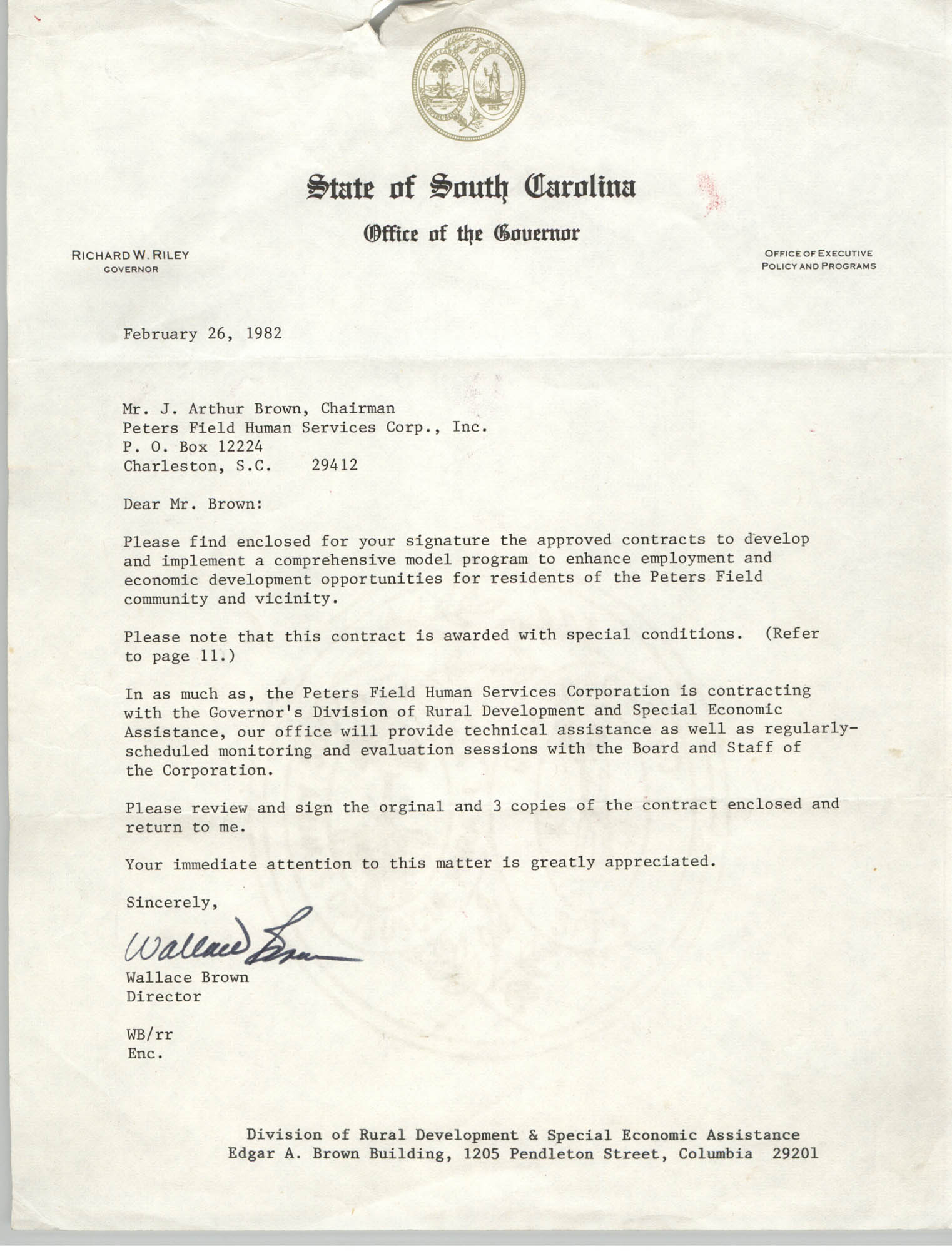 Letter from Wallace Brown to J. Arthur Brown, February 26, 1982